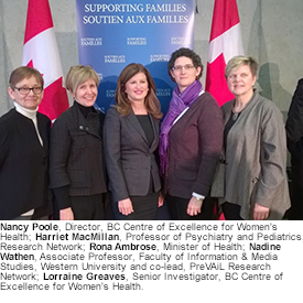 Nancy Poole, Harriet MacMillan, Rona Ambrose, Nadine Wathen and Lorraine Greaves