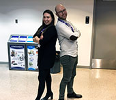 Monica Rossa (BA'12) and Spencer Daniels (BA'03) pose for a picture at the FIMS Undergraduate Career Conference.