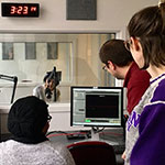 MMJC students and staff working in the radio studios.