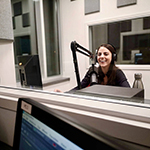 MMJC student recording in the radio booth.