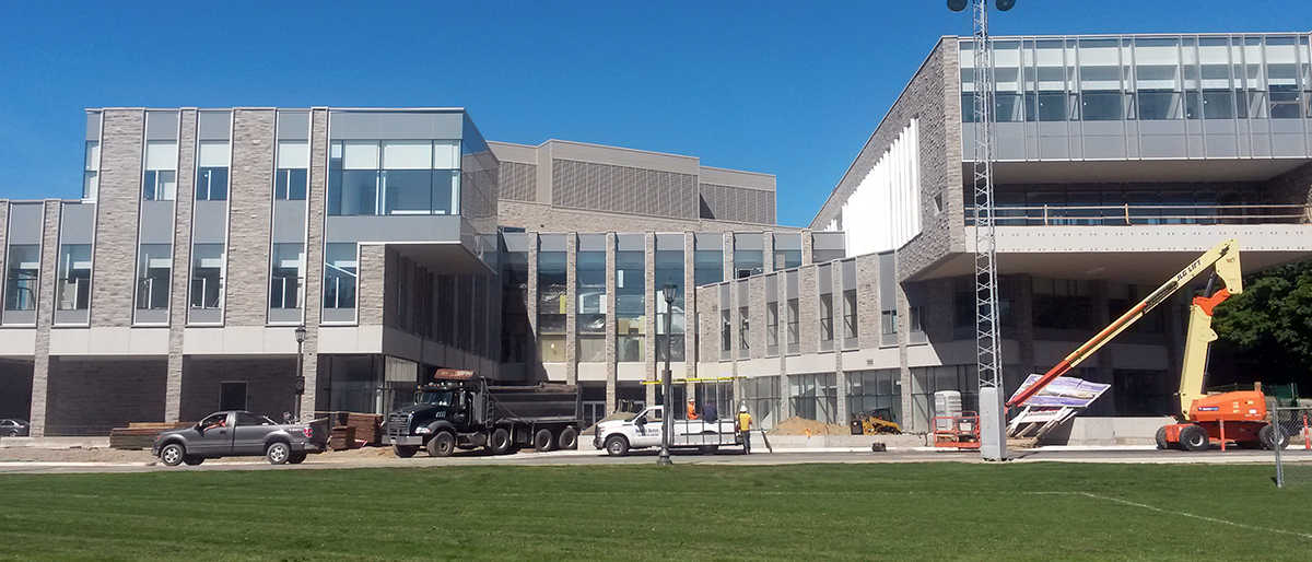 Photograph of the new FIMS academic building under construction